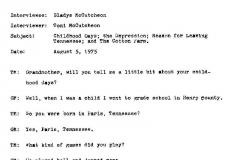 Gladys McCutcheon Interview Page 1